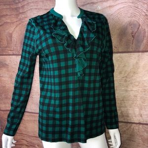 Chaps Shirt Size Large Gingham Plaid Green Black